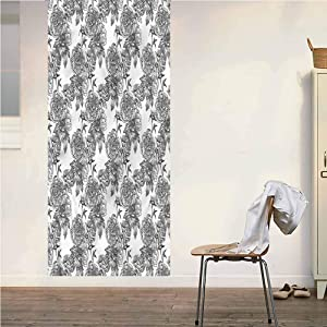 Poppy Ramsden Floral ONE Piece Door Mural Wall Sticker,Birth of Nature Theme Peel and Stick Removable Wallpaper Wall Decal for Door/Wall/Fridge Home Decor,32x80 Inch