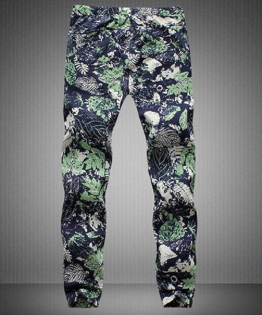 Zimaes-Men Long Linen Printed Simple Summer Straight Leg Casual Pants