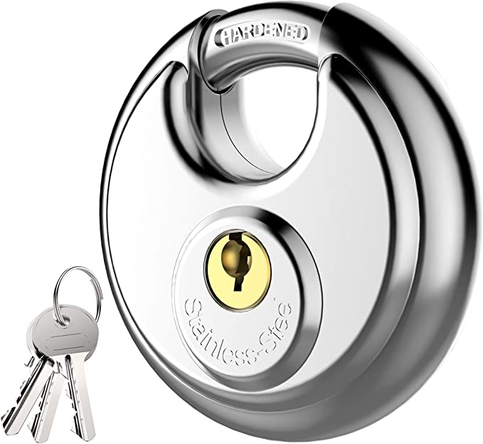 Puroma Keyed Padlock, Stainless Steel Discus Lock with 3/8-Inch Shackle for Sheds, Storage Unit, Garages and Fence - - Amazon.com