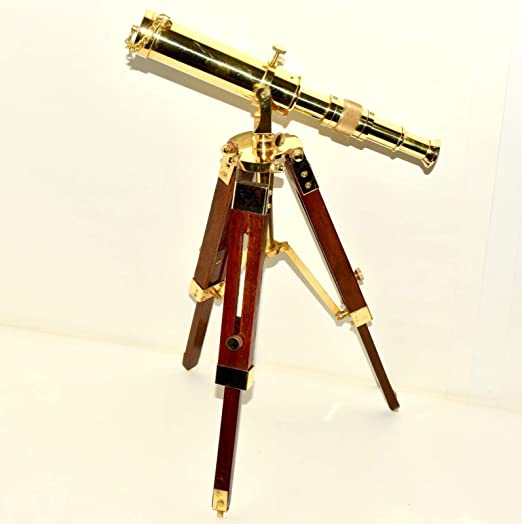 """New Marine Navy Nautical Brass Telescope With Wooden Tripod Stand 10/"""""""