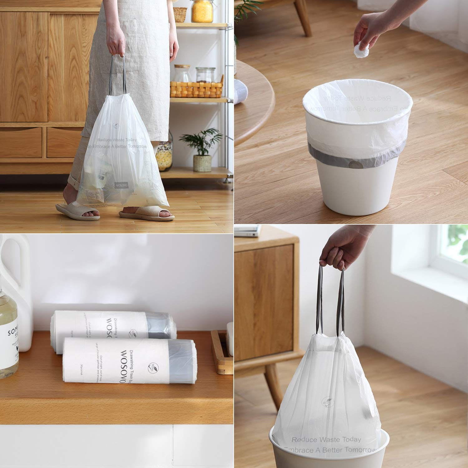 4 Gallon Small Trash Bags Drawstring, Bath Bedroom Kitchen Garbage Bags Heavy Duty, Home Office Wastebasket Bags Unscented, 180 Counts, 17.7 X 19.7