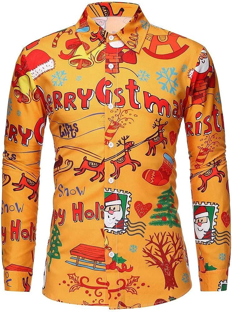 Hombre Camisas Navidad, Manga Larga Casual Navidad Impresión Otoño e Invierno Nuevo Camisa de Moda Slim Fit Long Sleeve Blusa Tops Camiseta Botón Shirt Diseño de Personalidad vpass: Amazon.es: Ropa y accesorios