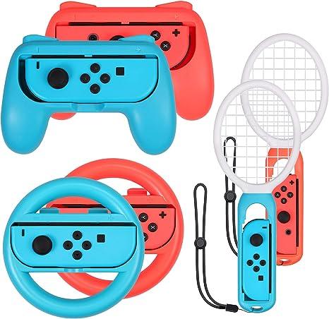 AUTOUTLET 3 en 1 Accesorios para Nintendo Switch, Grip y Raqueta de Tenis, Juego de Accesorios del Volante, Empuñadura, para Mario Tennis Aces Juego, para Controlador de Juegos para Switch Joy-Con: Amazon.es:
