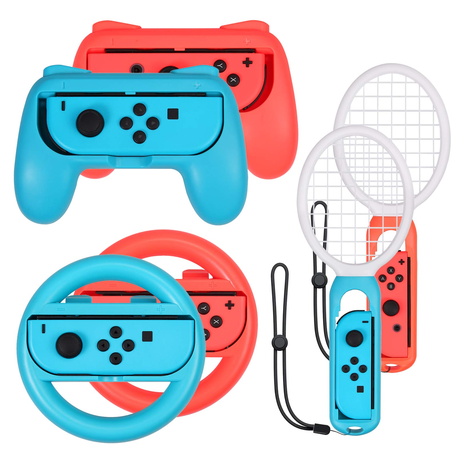 AUTOUTLET Grip for Nintendo Switch Joy-Con, Tennis Racket,Steering Wheel,Accessories for Mario Tennis Aces Game,3-Pack Switch Controller Grip Handle Kit for Nintendo Switch Joy-Con by AUTOUTLET