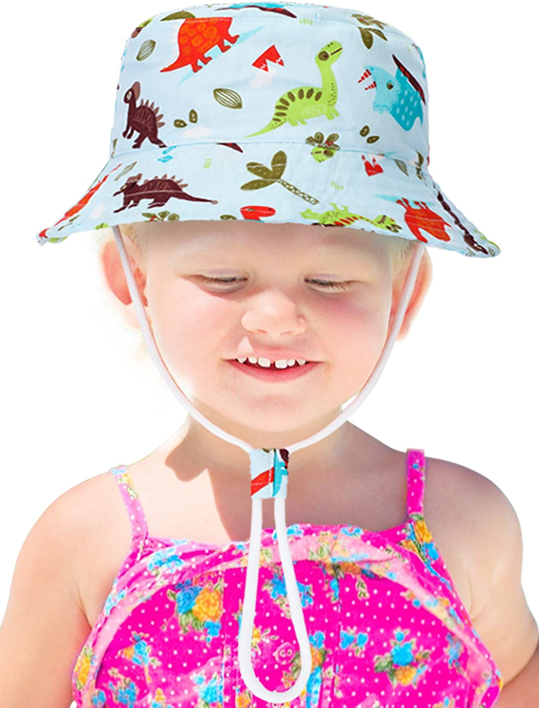 Kids Bucket Hat Cute Dinosaur Patterned Sun Protection Hat Wide Brim Cotton Cap for Toddler Boys Girls Summer Wearing
