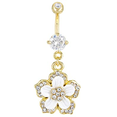 Amazon Com Gold Plated Surgical Steel Navel Belly Button Ring White