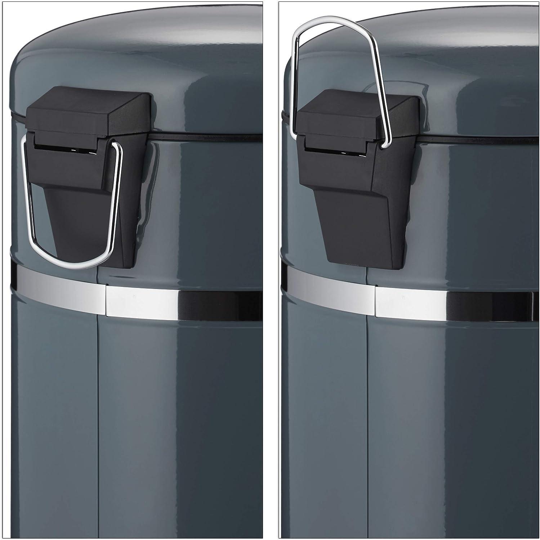 Blanco Acero Inoxidable Relaxdays 20 L Cubo Basura Pedal con Recipiente Interior con Asa