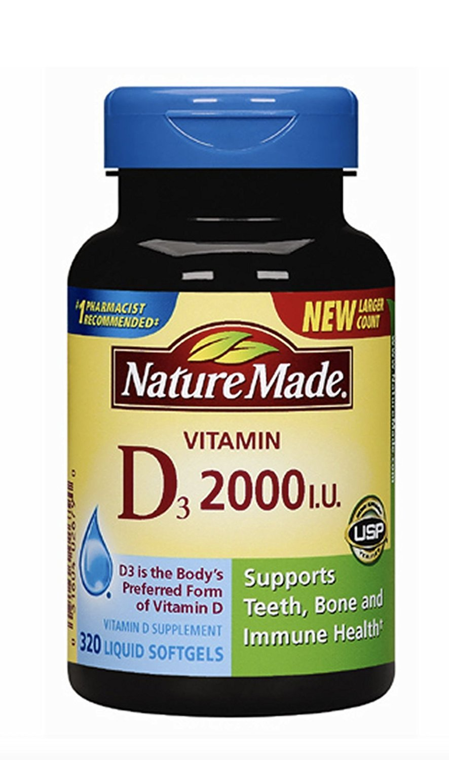 Nature Made Vitamin D3 2000 (50mcg) IU Softgels 320 Ct (Packaging may vary)