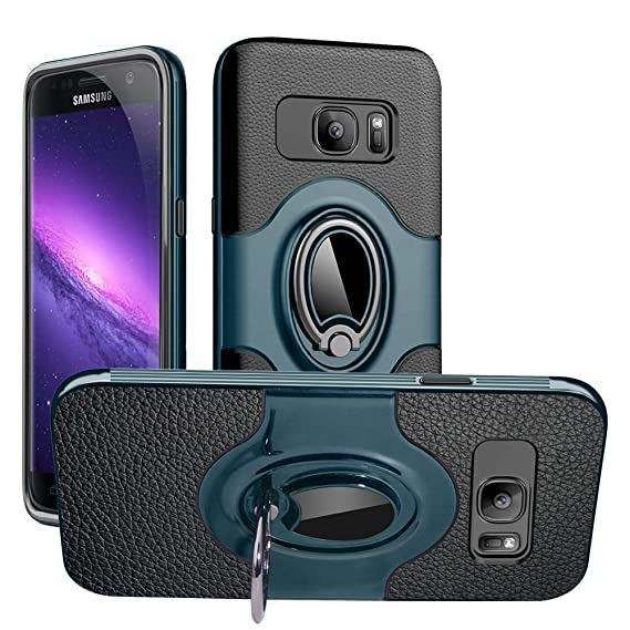 the best attitude c3054 443e3 Galaxy S7 Edge Case, S7 Edge Ring Case, Dairnim Stand Dual Layer TPU Bumper  Anti-Scratch Shockproof Support Magnetic Car Mount Holder Thin Soft Case ...