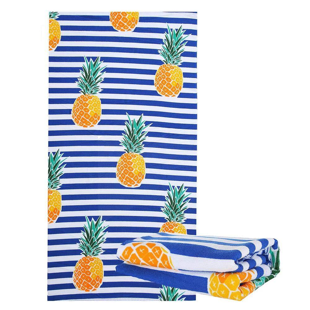 funny feng Telo Mare Telo da Bagno in Microfibra Asciugamano Righe a Forma di Ananas per Viaggi Ultraleggero Assorbente Antisabbia Spiaggia ad Asciugatura Rapida Vacanze