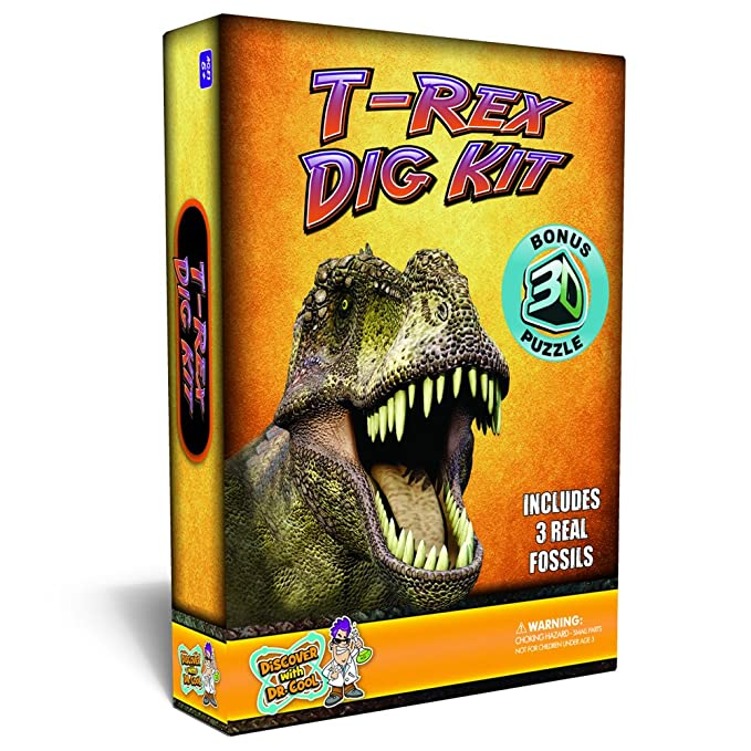 Discover with Dr. Cool T-Rex Dinosaur Dig Kit - Excavate 3 Real Dino Fossils!: Amazon.es: Juguetes y juegos