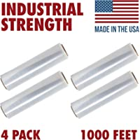 18 X 1000 Tough Pallet Shrink Wrap, 80 Gauge Industrial Strength Plastic Film, Commercial Grade Strength Film, Moving & Stretch Packing Wrap, For Furniture, Boxes, Pallets (4-Pack)