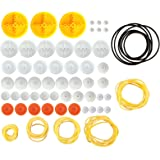 EUDAX 2mm Hole Plastic Belt Pulley Gears Combination Modulus Package Rubber Belts Band Plastic Model Accessories for DIY Robo