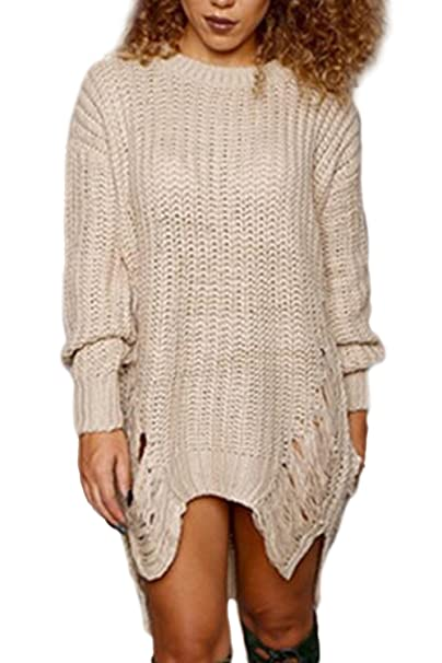 ec2cb25ad09 Women Pullover Sweater Dress Ripped Distressed Knit Long Sleeve Dresses  Apricot S