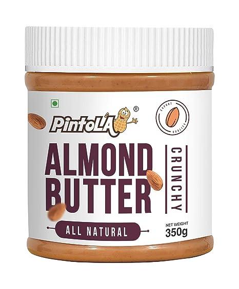 Pintola All Natural Almond Butter (Crunchy) PET Bottle, 350 g