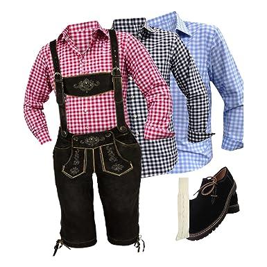 speed4allkinds Herren Trachten Lederhose 46-62 Trachten Set 5 Teilig Bayerische Trachtenlederhose,Hemd,Schuhe,Socken Neu