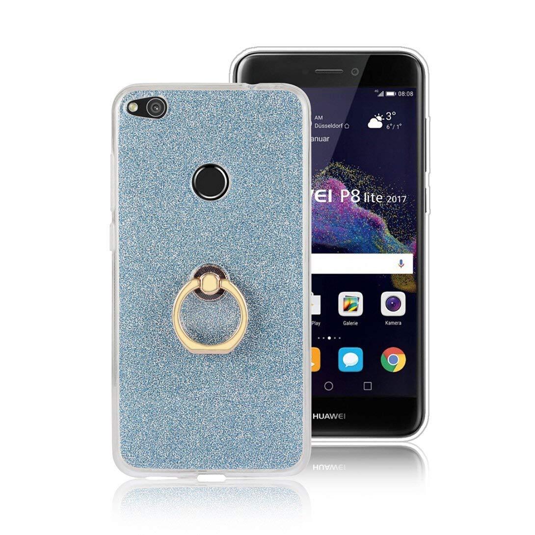 Felfy Kompatibel mit Huawei P8 Lite 2017 H/ülle mit Ring St/änder,Kompatibel mit Huawei P8 Lite 2017 Case Transparent Glitzer Gl/änzend Pailletten Handyh/ülle D/ünn Weich TPU Silikon Schutzh/ülle,Schwarz
