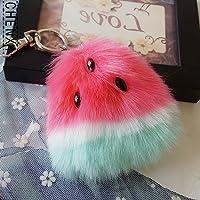 yushangtong-au Pretty Cosmetics Jewellery Keyrings Watermelon Plush Ball Key Chain Pendant Plush Key Ring Keychain(Colorful)