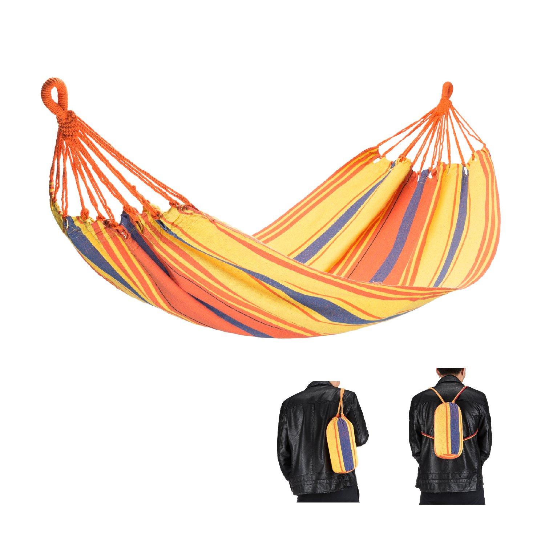 FUNDANGO Ultralight Portable Durable Outdoor Camping Hammock for Backpacking, Travel, Beach, Garden, Patio, Yard (Orange)