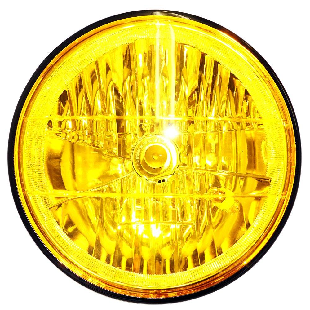 HK マルチリフレクター カラーレンズ ヘッドライト H4バルブ付 ライト径φ180mm [イエローレンズ×ブラックケース] B01JA0MWTM イエローレンズ×ブラックボディ