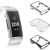 Fintie hoesje voor Fitbit Charge 3/Charge 4/Charge 3 Special Edition - [3 stuks] Ultradun Lichte Volledig beschermd Cover Siliconen Displaybescherming TPU Case,