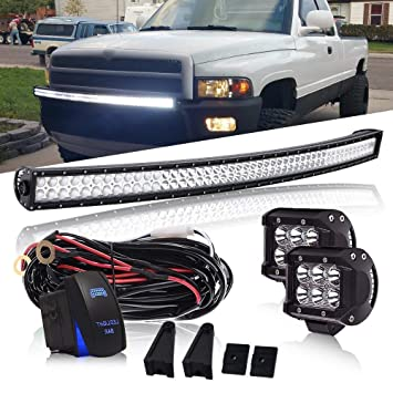 DOT 50 Inch 288W Led Curved Light Bar + 2PCS 4 Inch 18W Cube Pods Driving  Inch Light Bar Wiring Harness on light bar bulbs, light bar on 4 wheeler, light bar lights, light bars for trucks, light bar battery, light bar switches, light bar bracket, light bar 24 in, light bar cover, light switch battery wiring, light bar bumper, light bar windshield, light bar headlights, light bar control box, light bar switch harness, light bar wiring labels,