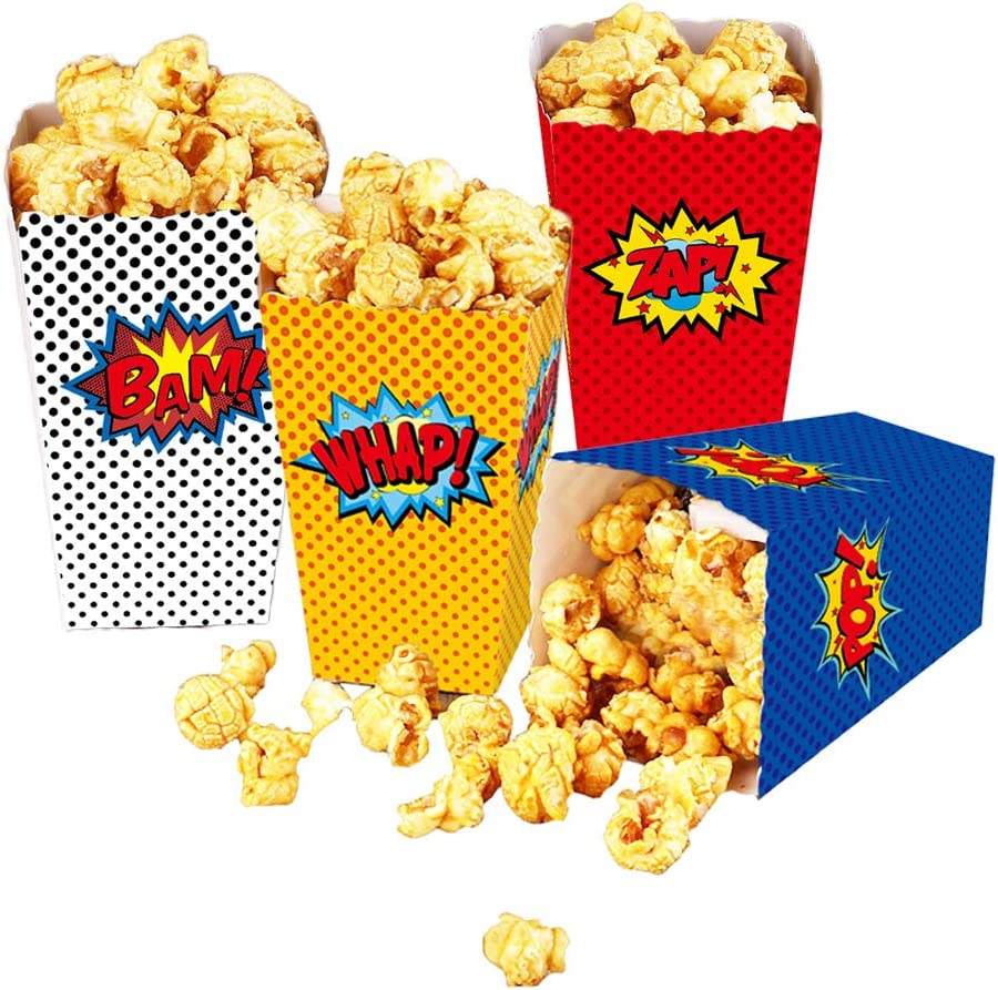 24 Pcs Superhero Party Supplies Favors Superhero Party Popcorn Boxes Cardboard Candy Container for Birthday Theater Themed Parties Movie Nights Carnivals