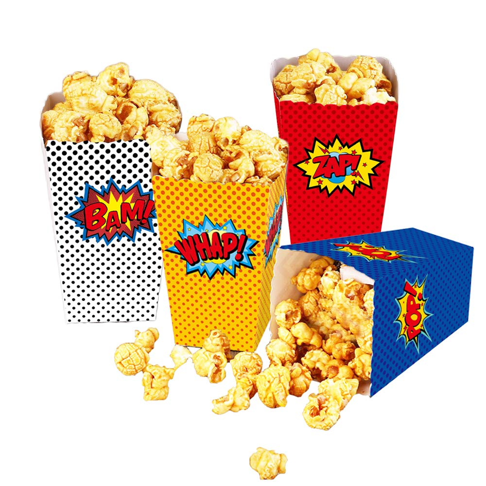 24 Pcs Superhero Party Supplies Favors Superhero Party Popcorn Boxes Cardboard Candy Container for Birthday Theater Themed Parties Movie Nights Carnivals (Dot) by YNOU