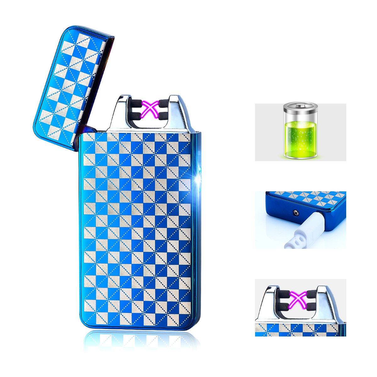 Usb Lighter,Lighters for Men and Women Windproof Usb Rechargeable Arc lighter Electric Lighter Best Gift