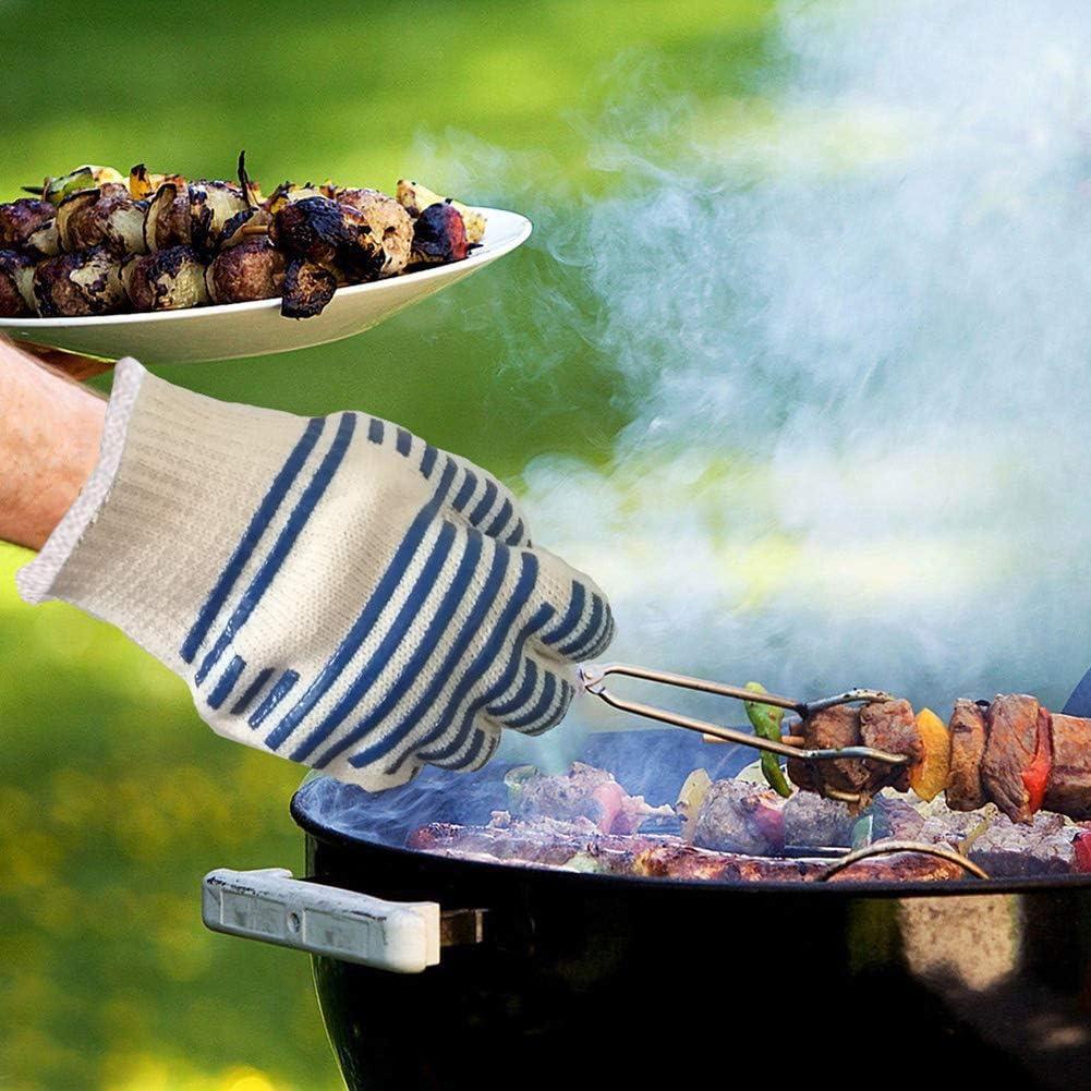 THE BEST DAY Gants de Barbecue Anti-Chaleur antid/érapant 1 Paire 1 Gant Anti-Chaleur jusqu/à 800/°c,Universel Gants de Cuisine