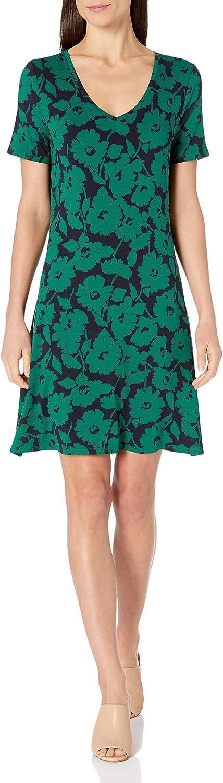 Amazon Essentials Short-Sleeve V-Neck Swing Dress Dresses Mujer