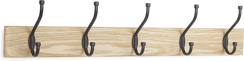 AmazonBasics Wall-Mounted Farmhouse Coat Rack, 5 Hooks, Set of 2, Natural