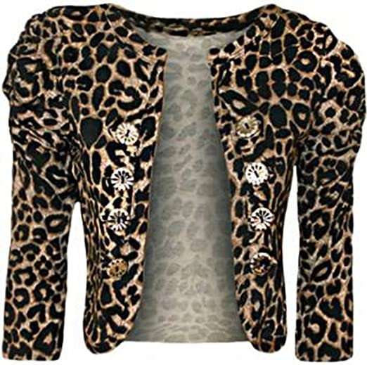 c15d3d25b57 Image Unavailable. Image not available for. Color  Girls Walk Women s  Leopard Print Military Button Bolero Shrug Top