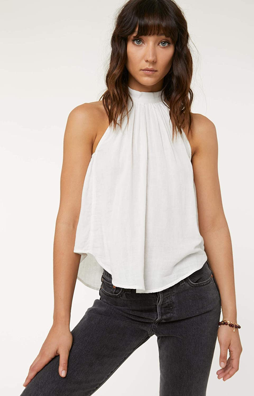 ONeill Womens High Neck Woven Ruffle Tank Shirt