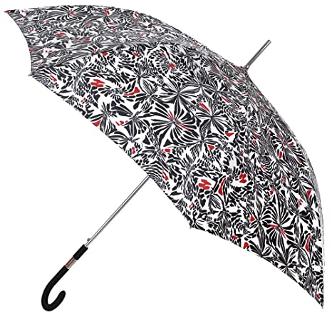 Paraguas Mujer Largo con Estampado en Negro y Rojo. Paraguas Vogue. Efecto Hojas