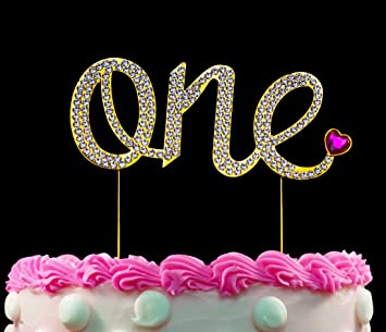1st First Birthday Gold One Cake Topper With Pink Heart Sparkling
