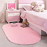 LOCHAS Ultra Soft Children Rugs Room Mat Modern Shaggy Area Rugs Home Decor 2.6' X 5.3', Pink
