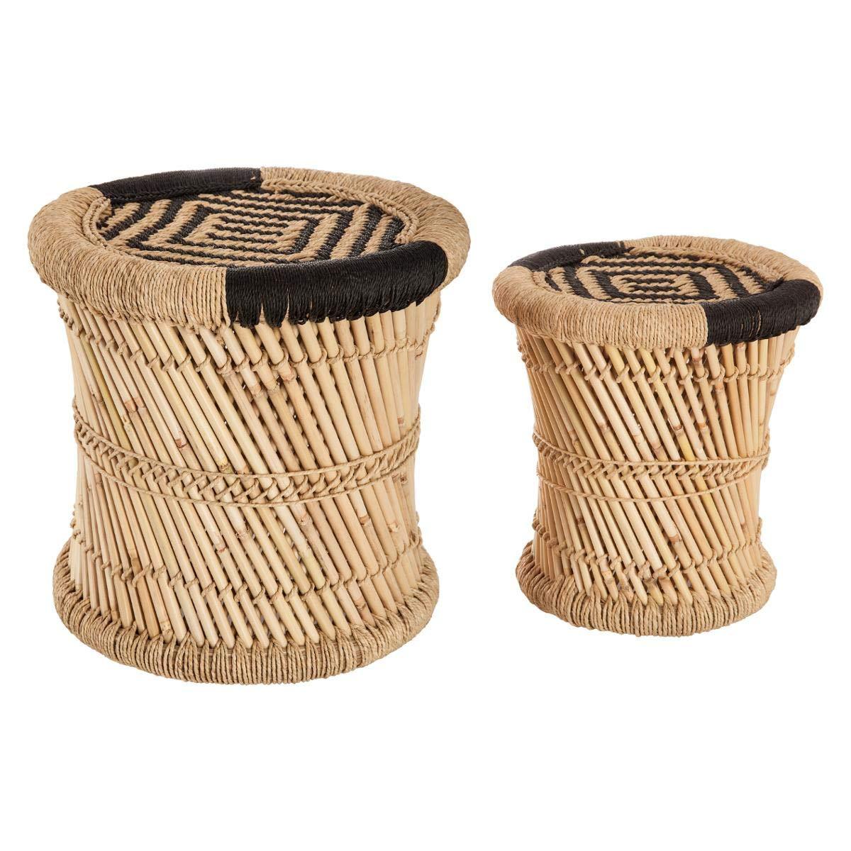Set di 2 tavolini bassi sovrapponibili in corda e bambù - Stile nomade - Colore: LEGNO e NERO ATMOSPHERA