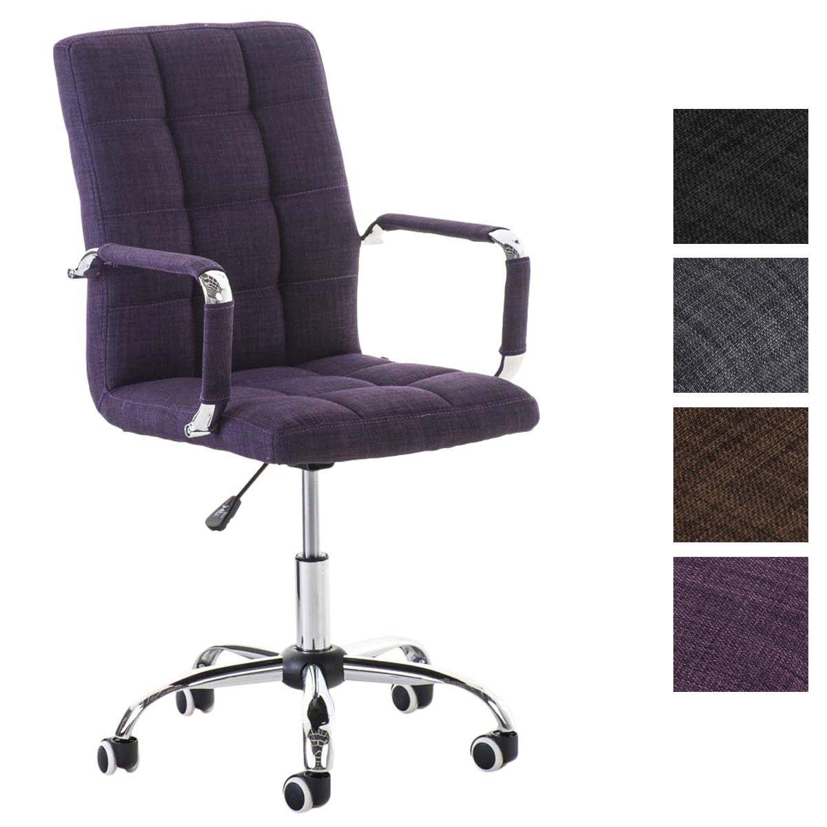 CLP Bürostuhl Deli V2 mit Hochwertiger Polsterung und Stoffbezug I Schreibtischstuhl mit Metalldrehkreuz I Höhenverstellbarer Chefsessel mit Laufrollen Lila