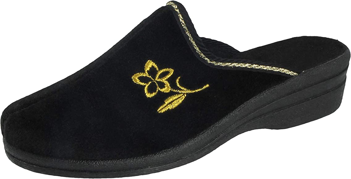 Ladies Womens Slip On Heeled Mule Slipper with Constrasting Floral Design