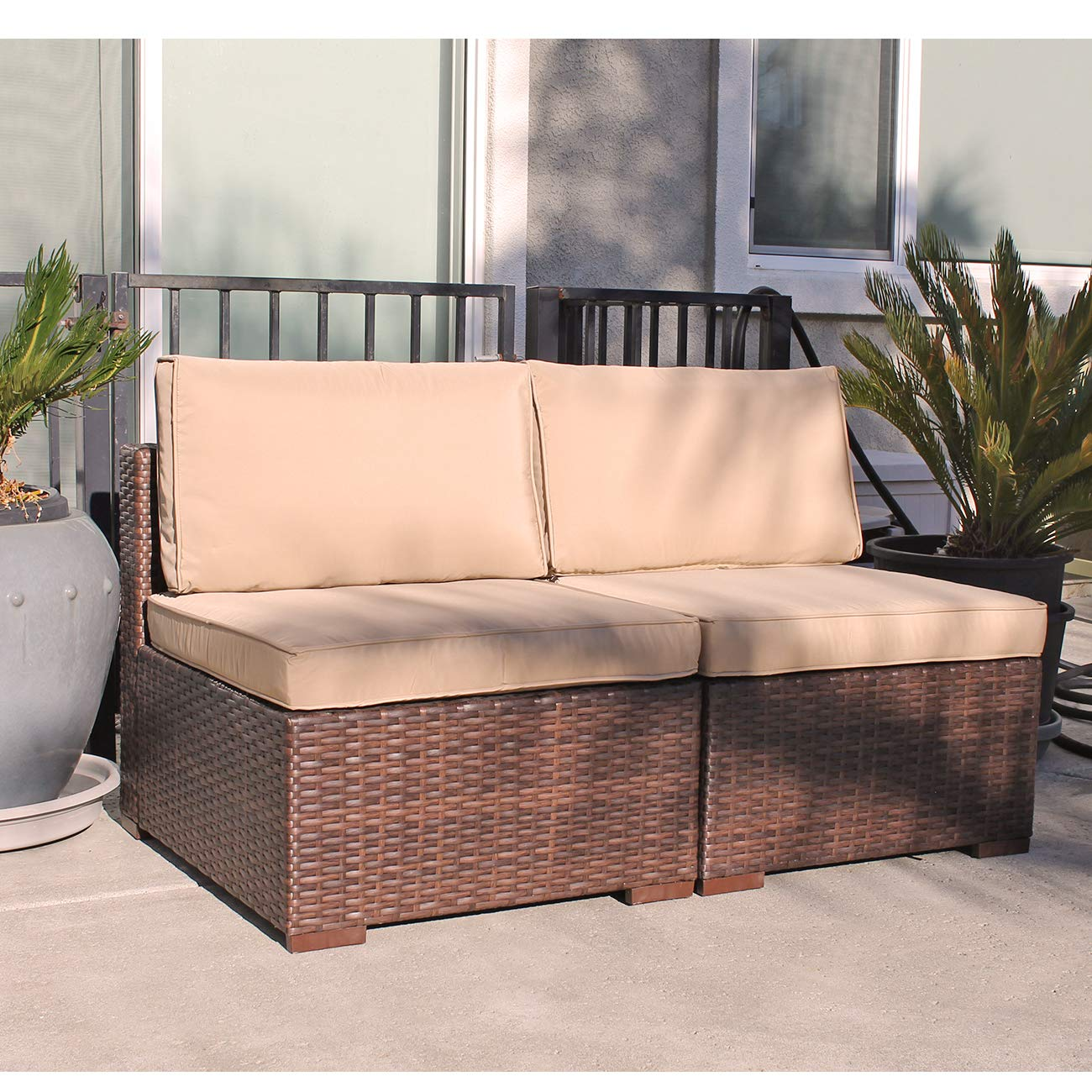Patiorama Patio Loveseat Wicker Armless Chairs, All Weather Brown PE Wicker Sofa Chair,Additional Seats for Sectional Sofa, Beige Cushions,Steel Frame,2 Piece