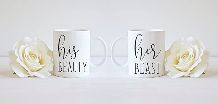 Amazoncom His And Hers Mug Set Beauty Beast 2 Piece Mug Set His