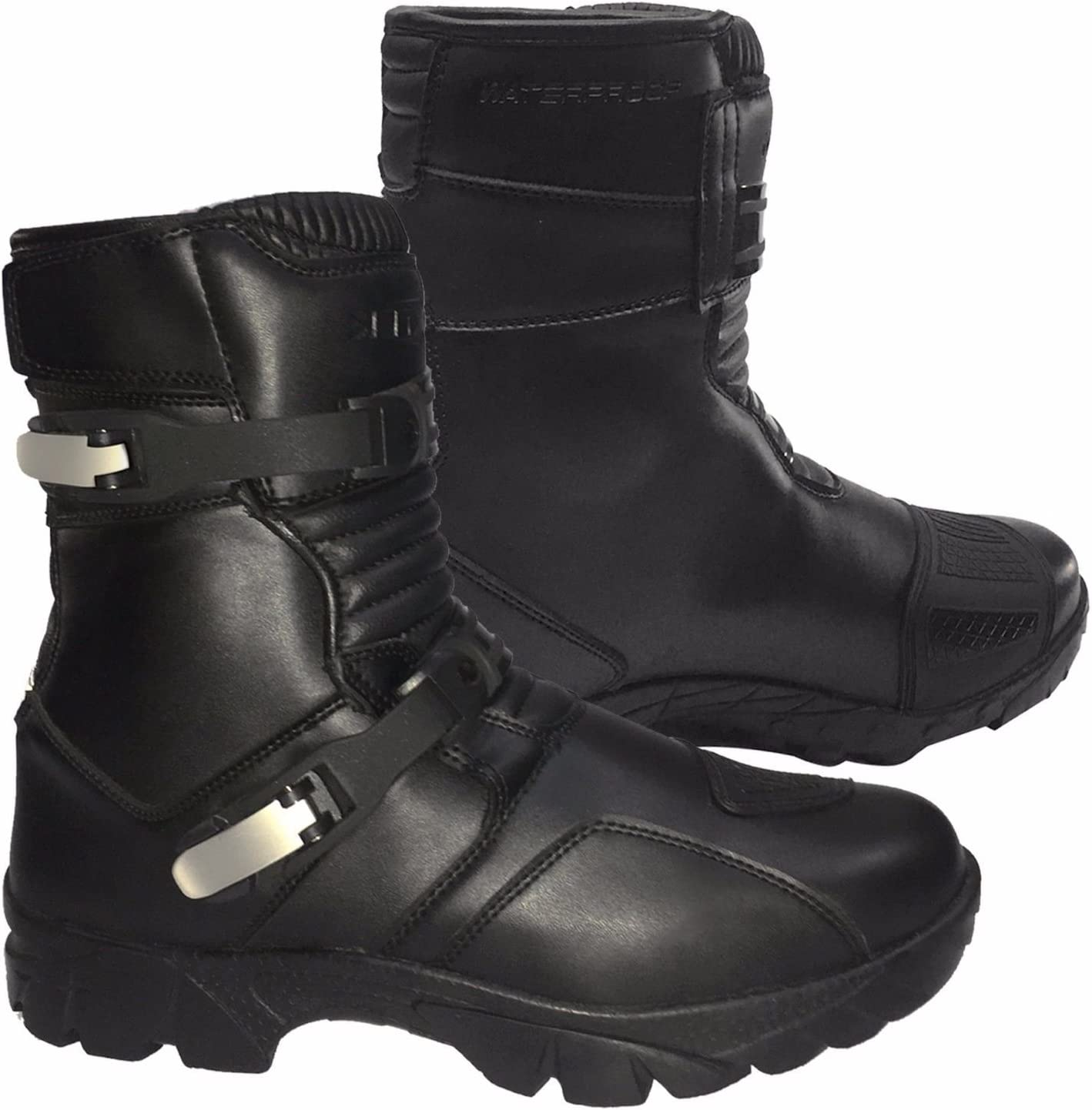 Genuine Leather Waterproof Motorbike Boots Off Road Adventure Touring Motorcycle Shoes Short Mid Half Ankle Casual Racing Sports Touring Cruise PROFIRST BT-81 UK 10 // EU 44 Full Black
