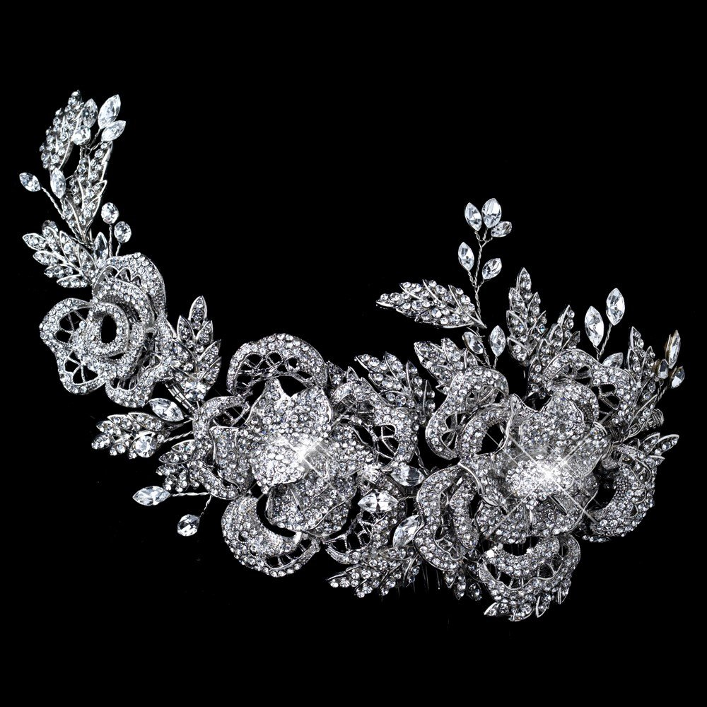 Katrina Spectacular Rhodium Rhinestone Floral Rose Side Accented Wedding Bridal Special Occasion Hair Comb