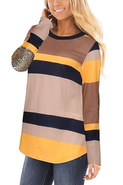 Mujer Sudadera Elegante Moda Tops Manga Larga Casual Blusa T-Shirt Irregular Pullover Rayas Camisetas Lentejuelas Stitching Round Collar Jerséis Camisas: ...