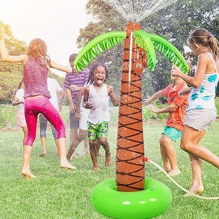FUVOYA Niños inflables Agua aspersión Juguete, Agua Spray Bola Fuente jardín Piscina Beach Lawn Palmeras: Amazon.es: Hogar