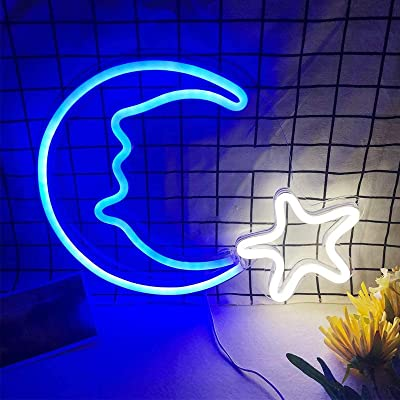 Buy Large Neon Sign For Wall Decor Usb Powered Led Signs Light Neon Wall Lights For Bedroom Light Up Signs Decorative Neon Light Sign For Holiday Christmas Party Wedding Kids Room Moon Star