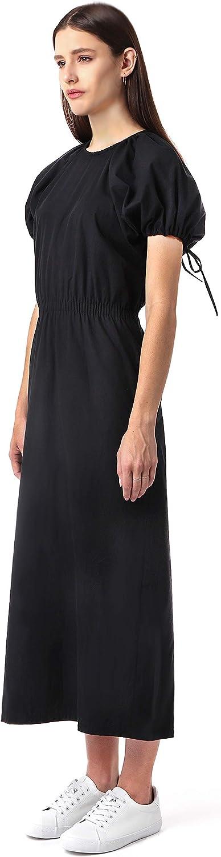 AMIE New free York Women's Puff Sleeve Super-cheap Mi Poplin Waist Smocked Cotton