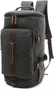 BAOSHA Canvas Weekender Travel Duffel Backpack Hybrid Hiking Rucksack Laptop Backpack for Outdoor Sports Gym HB-26(Black)