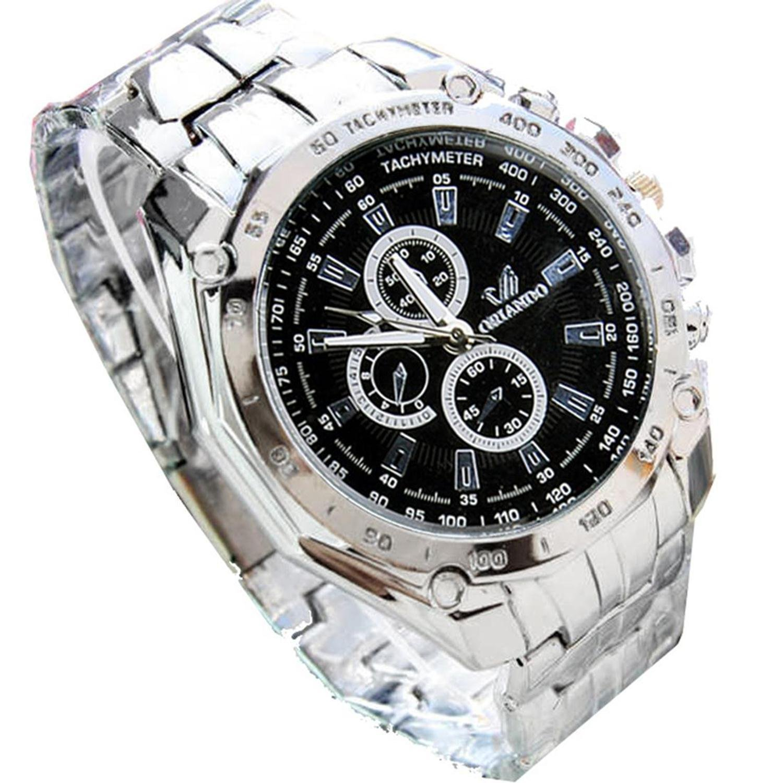 Corgy Men's Fashion Stainless Steel Belt Sport Business Quartz Watch Wristwatches